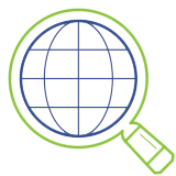 Magnifying glass and world icon